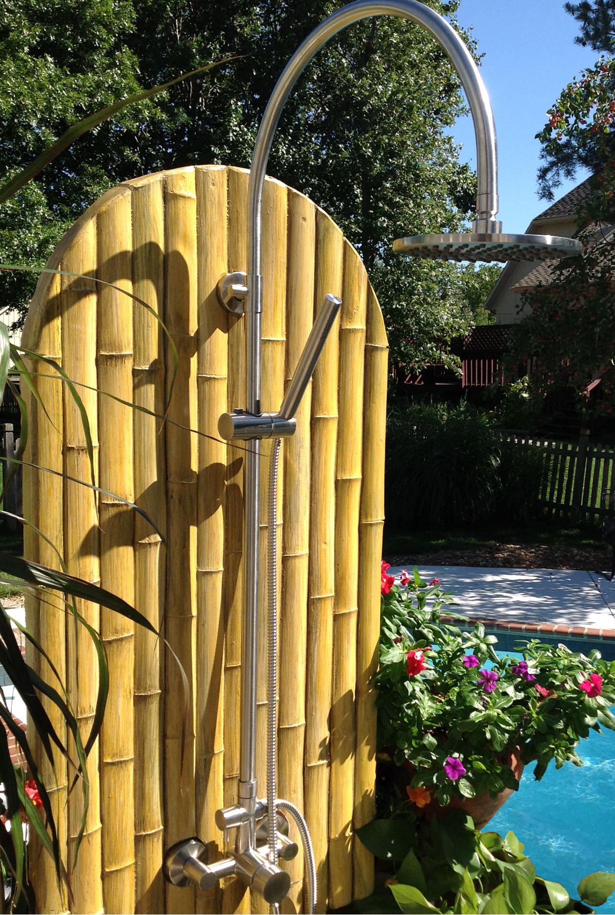 Image of SunRinse Bamboo Shower Panel with the SR201 Stainless Steel Outdoor Fixture.